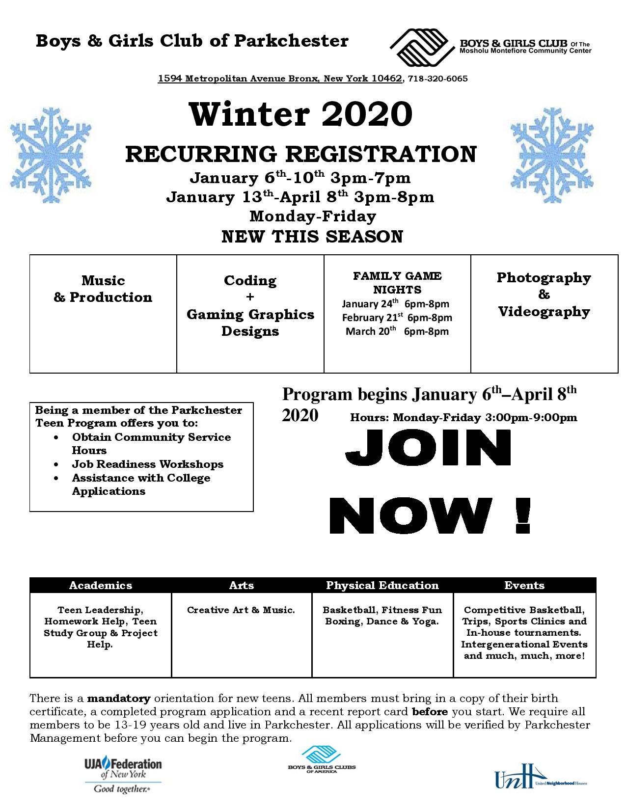 Boys and Girls Club Winter Registration